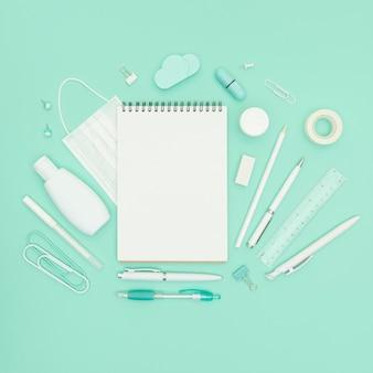 Flat lay school supplies arrangement