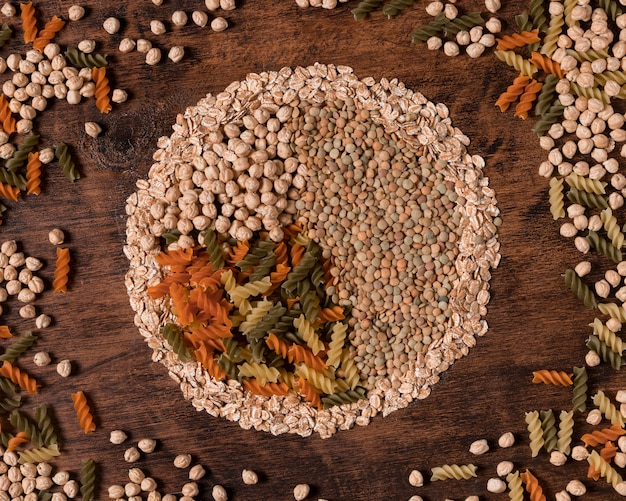 Flat lay seeds and pasta arrangement