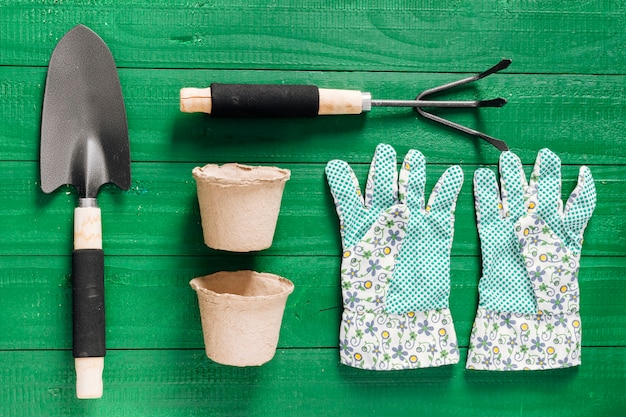Flat lay set of gardening items