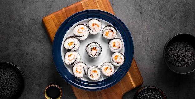Flat lay set of maki sushi