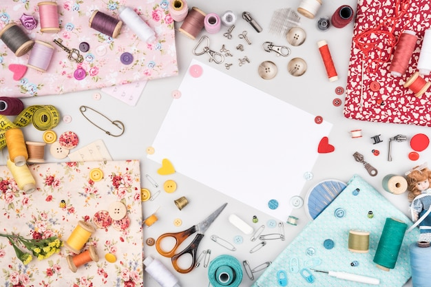 Flat lay of sewing supplies