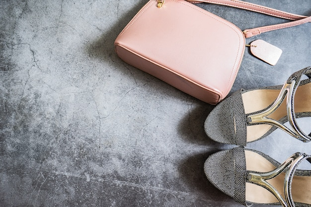 Flat lay of shopping and fashion women's accessories