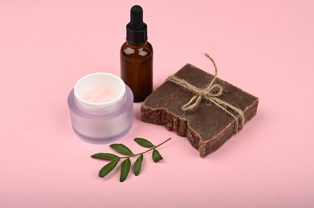Flat lay skin care. flat layout with accessories, spa cosmetics, bath salt, cream and towels. skin care product, natural cosmetic, flat lay image.