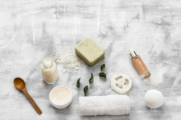 Flat lay of skin care items