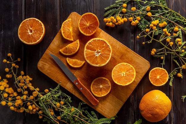 Flat lay of sliced citrus fruits