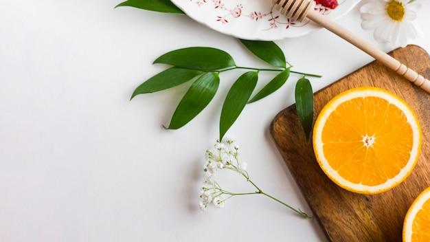 Flat lay sliced orange