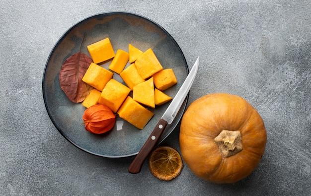 Flat lay slices of pumpkin