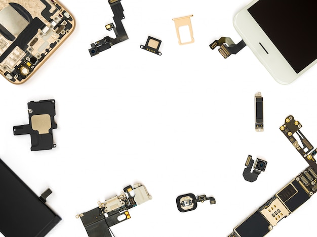 Flat lay of smart phone components isolate