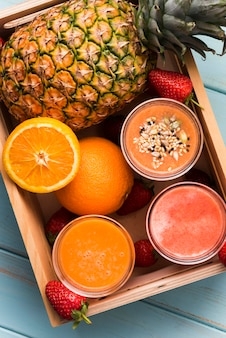 Flat lay smoothies in box