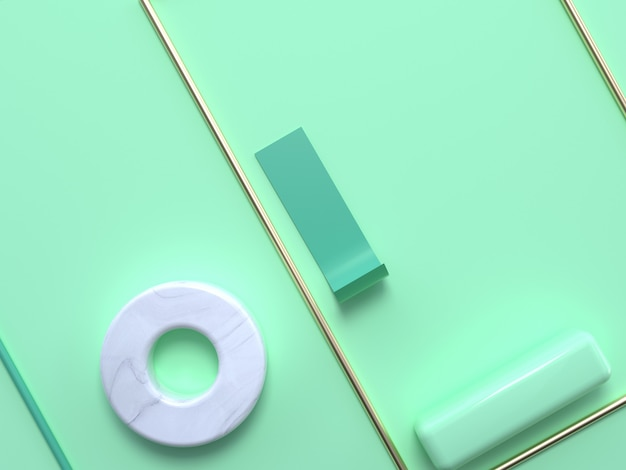 Flat lay soft green pastel scene abstract geometric shape gold white marble 3d rendering circle square frame