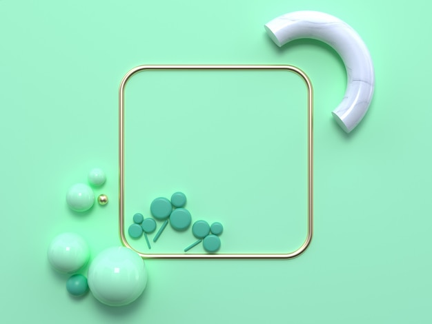 Flat lay soft green pastel scene abstract geometric shape gold white marble 3d rendering square frame green leaft