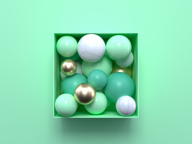 Flat lay soft green pastel scene with abstract green and white geometric shapes