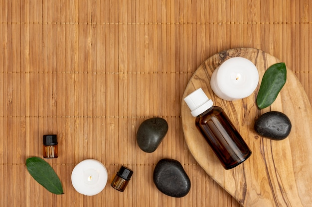 Flat lay spa assortment with copy-space