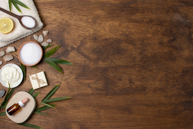 Flat lay spa composition on wooden background