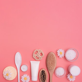 Flat lay of spa essentials with copy-space