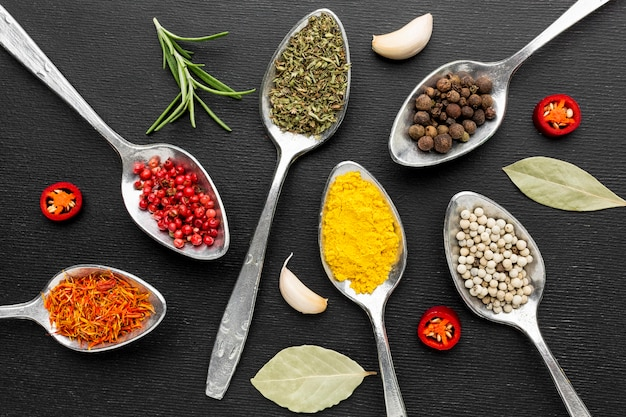 Flat lay spoons with powder condiments