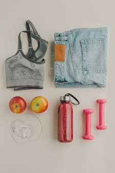 Flat lay sport equipment healthy life concept