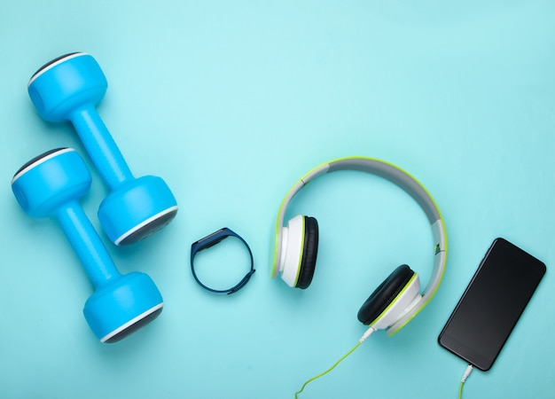 Flat lay sports and fitness composition