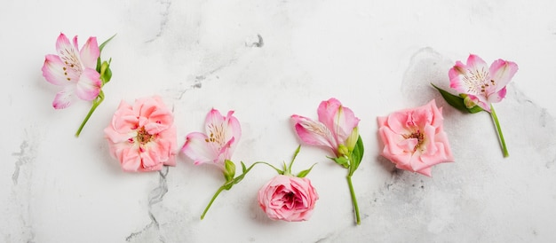 Flat lay of spring roses and orchids with marble background