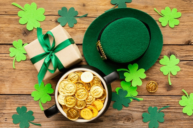 Flat lay st patrick items on wooden table