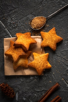 Flat lay star shaped biscuits