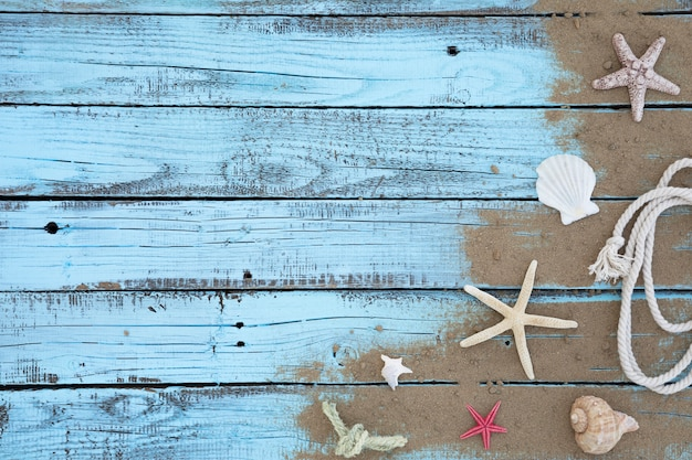 Flat lay starfishes and seashells wooden board