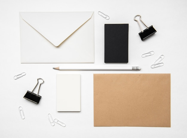 Flat lay stationery items and business card