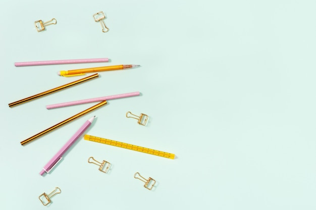 Flat lay of stationery for school or office