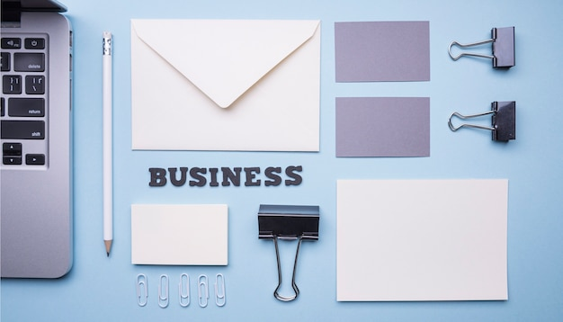 Flat lay stationery supplies for companies