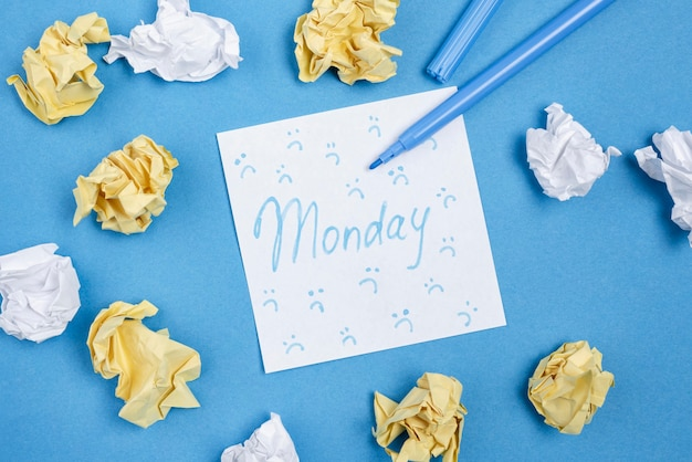 Flat lay of sticky note with frowns and crumpled paper for blue monday