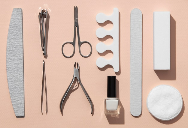 Flat lay still life assortment of nail care products