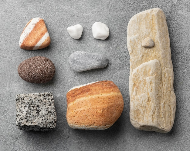 Flat lay stone collection