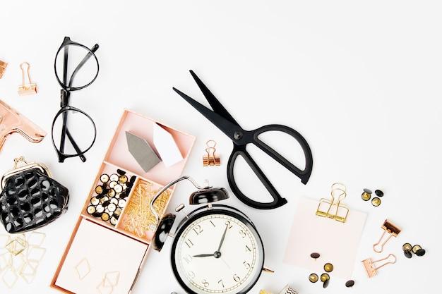 Плоская планировка стильный набор васи скотч скрепки заметка бизнес канцелярские принадлежности