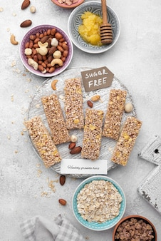 Flat lay sugar free snack bars arrangement