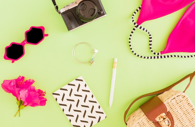 Flat lay of summer accessories of traveler
