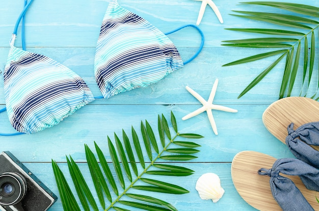 Flat lay summer background