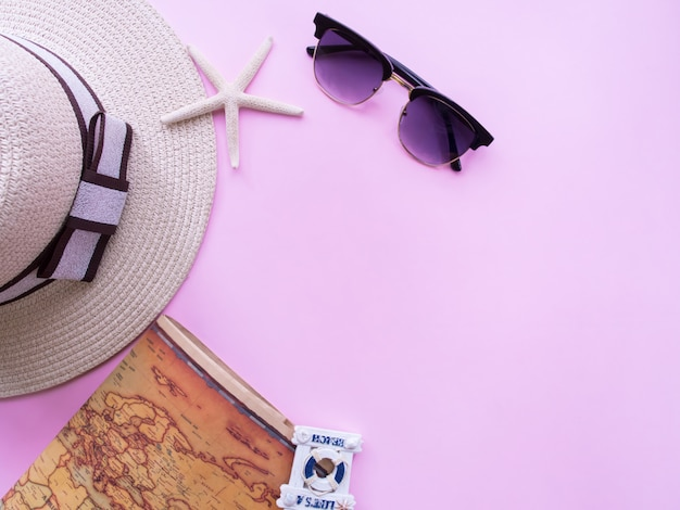 Flat lay of summer holiday background.