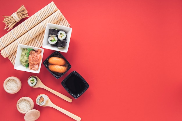 Flat lay sushi composition with copyspace