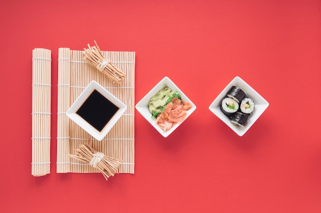 Flat lay sushi composition