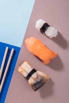 Flat lay sushi rolls