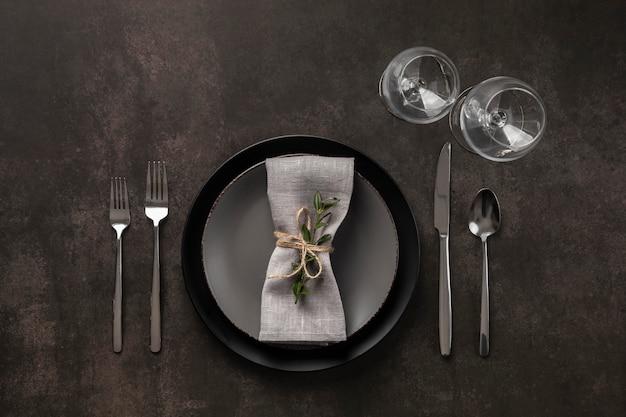 植物とフラットレイテーブルの品揃え