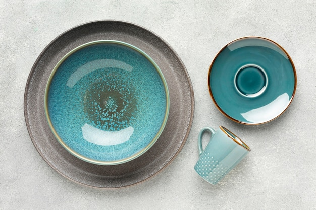 Flat lay tableware collection