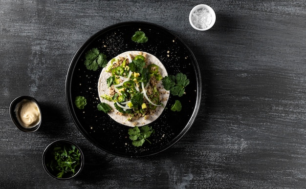 Flat lay taco frame with copy-space