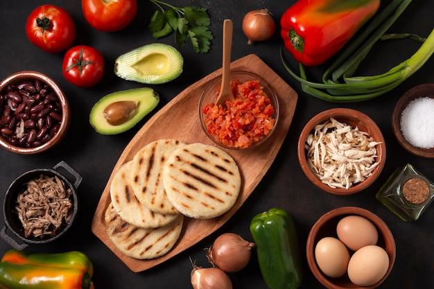 Плоская планировка вкусной еды