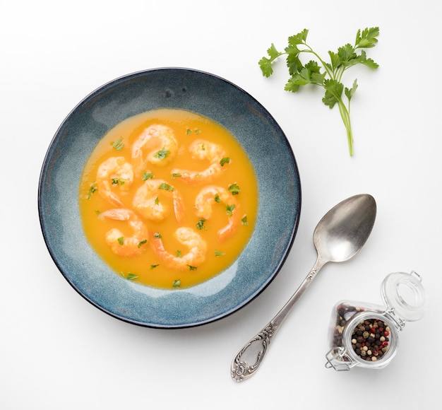 Flat lay tasty shrimp soup
