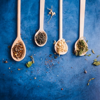 Flat lay tea composition with copyspace