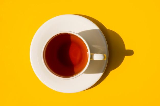 Flat lay tea cup still life
