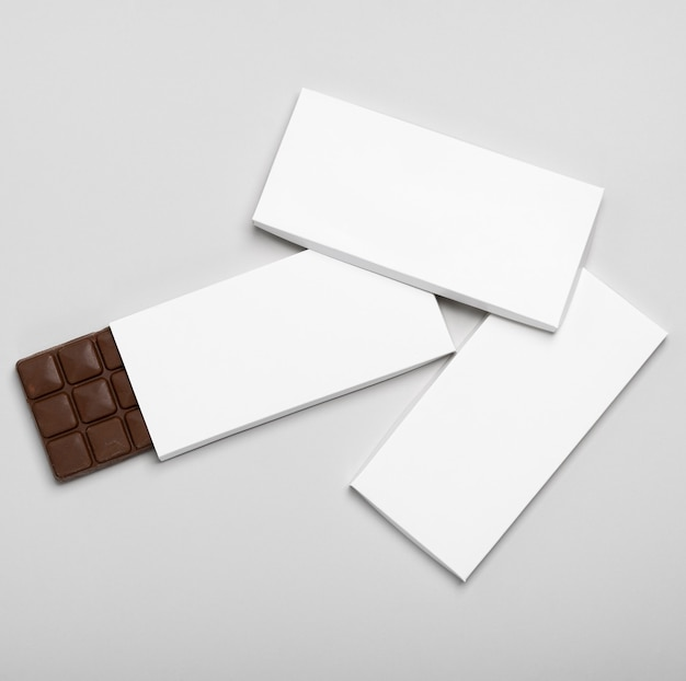 Flat lay of three blank chocolate bars packages