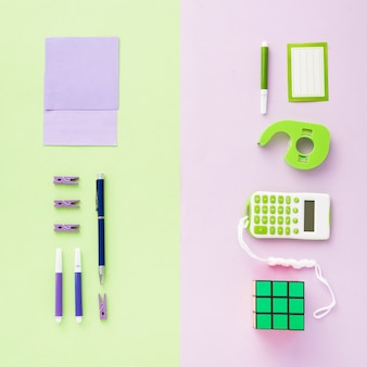 Flat lay of tidy office desk