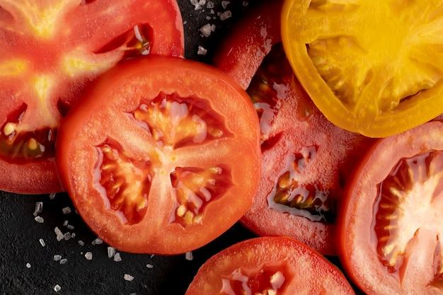 Flat lay tomato slices arrangement